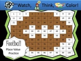 Football Place Value Practice - Watch, Think, Color Mystery Pictures
