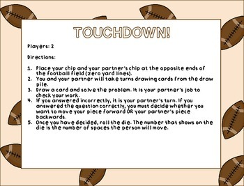 Football Place Value Review Math Center Game