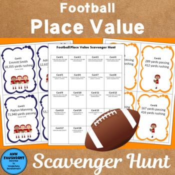 Football Place Value Scavenger Hunt through hundred thousands