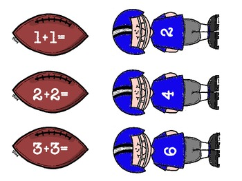 Football Player Doubles Addition Math Center