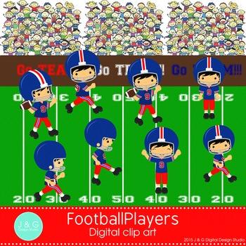 Football Players Digital Clipart, clip art