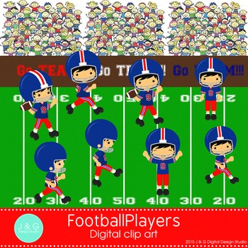 Football Players Digital Clipart, clip art