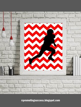 Football Themed Classroom Decor, Red Chevron Classroom Poster or PE Poster