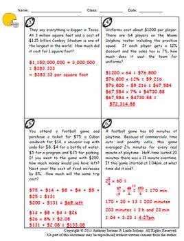 Football, Pre-Algebra Problem Solving