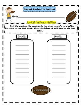 Football Prefixes or Suffixes
