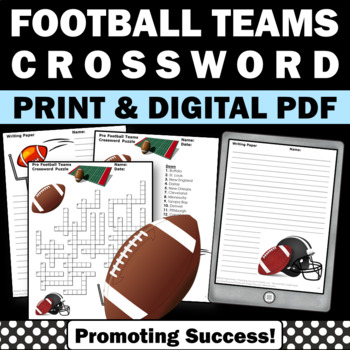 Football Crossword Puzzle Early Finishers Homework or Geog