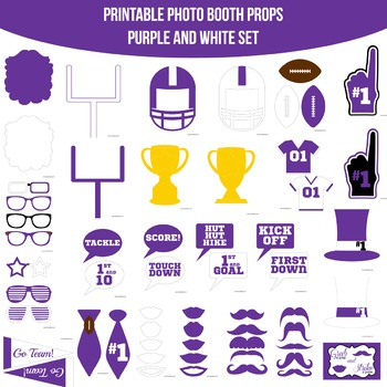 Football Purple Printable Photo Booth Prop Set