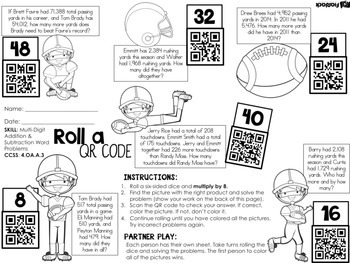 Football QR Code Addition and Subtraction Word Problem Worksheet FREEBIE