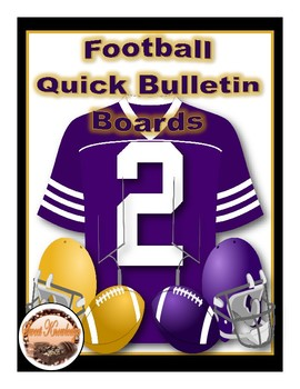 Football Quick Bulletin Boards (Purple, Gold, White, Black) Decoration
