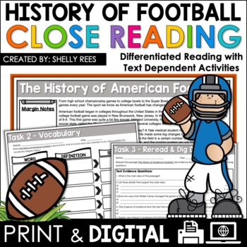 Football Reading Comprehension Passage and Questions - Close Reading Unit