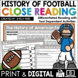 Football Reading Comprehension Passage and Questions Close Reading Unit