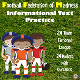 Football Reading Comprehension: Informational Text Activity