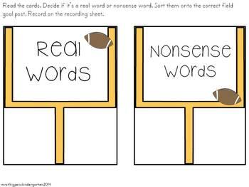 Football Real/Nonsense Word Sort