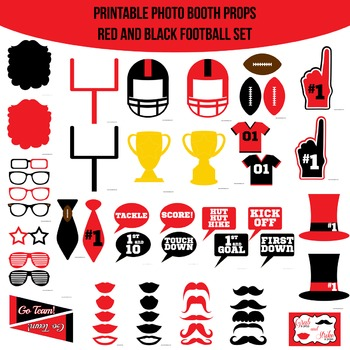 Football Red Black Printable Photo Booth Prop Set