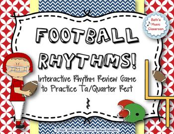 Football Rhythms! Interactive Reading Game - Ta/Quarter Rest (Stick Notation)