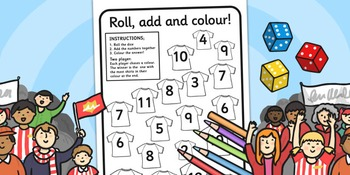 Football Roll and Colour Worksheet