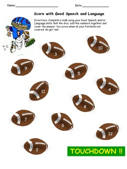 Football Roll and Cover {An open ended activity}