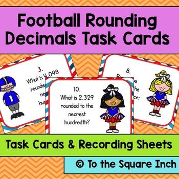 Football Rounding Decimals Task Cards