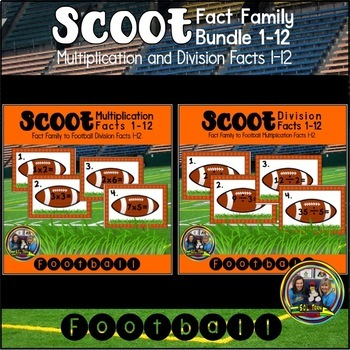 Football Math Scoot Game Bundle for Multiplication and Division