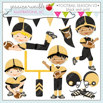 Football Season Black & Gold Cute Digital Clipart, Boys Football Graphics
