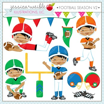 Football Season V2 Cute Digital Clipart, Boys Football Graphics
