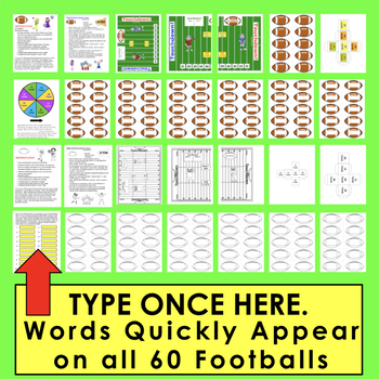 Football Sight Words Activities- First 110 Dolch - Super Sunday