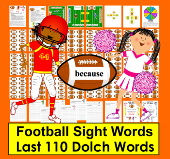 Football Sight Words Activities- SET TWO Last 110 Dolch - Super Sunday