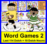 Football Sight Words Super Sunday Game Boards - LAST 114 Dolch + 10 Nouns