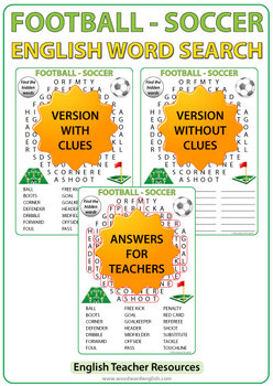 Football / Soccer Vocabulary - English Word Search
