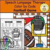 Football Speech and Language Therapy Color By Code Grab and Go Activity