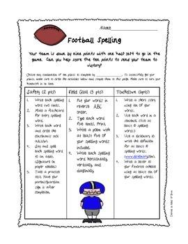 """Spelling Homework Activity Sheet """"Football Spelling"""""""