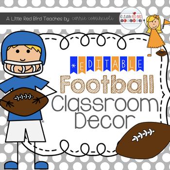 Football Sports Classroom Decor {Editable}