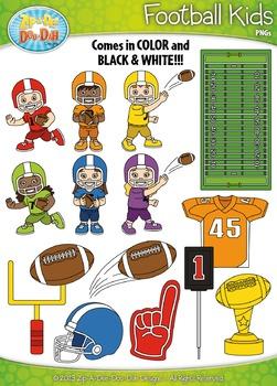 Football Sports Kid Characters Clipart {Zip-A-Dee-Doo-Dah Designs}