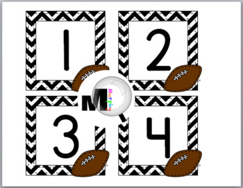 Football Sports Theme Classroom Décor Number Labels 1-40