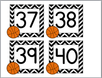 Basketball Sports Theme Classroom Décor Number Labels 1-40