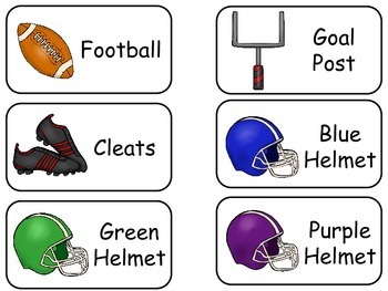 Football Sports themed printable Picture Word Flash Cards. Preschool flashcards.