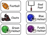 Football Sports themed printable Picture Word Flash Cards.