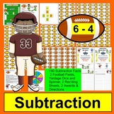 Football Subtraction Math Centers - 190 Subtraction Facts to 18