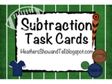 Football Subtraction Task Cards (Put the big number on top!)