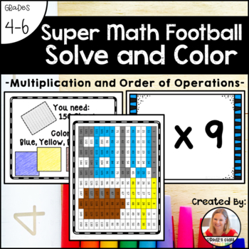 Super Math Football  Solve and Color (Multiplication and Order of Operations)