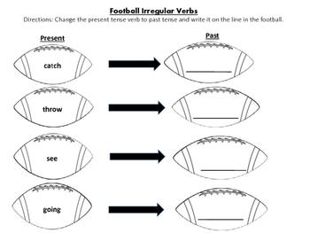 Football/Superbowl Themed Synonyms, Antonyms and Irregular Verbs