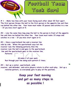 Physical Education - Football Task Card