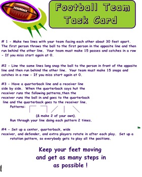 Physical Education - Football Task Card
