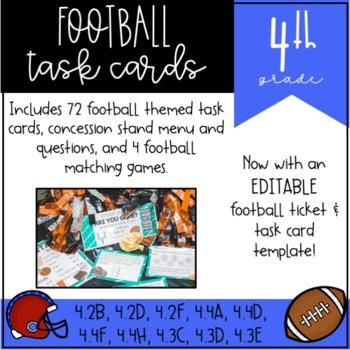Football Task Cards for 4th Grade