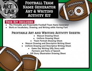 Football Team Name Generator Art & Writing Activity Kit {Printable}