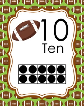 Football Ten Frame Posters - 0 to 20