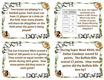 Football Test Prep Problem Solving Cards