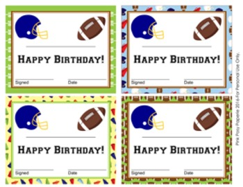 Football Theme Birthday Certificates