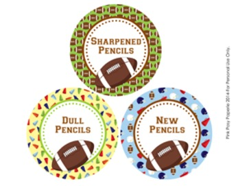 Football Theme Pencil Caddy Labels