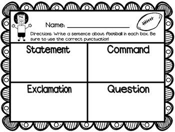 Football Theme - Types of Sentences
